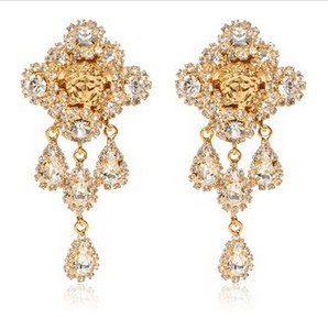 VERSACE crystal & gold plated earrings
