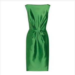 Badgley Mischka collected green satin dress