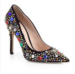 Miu Miu Donna pumps with suede jewels