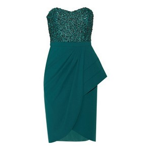 Badgley Mischka sequined green stretch