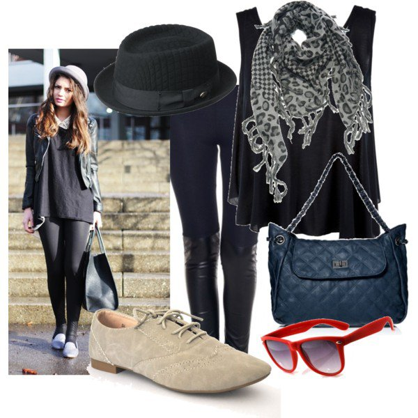 Black outfit idea with oxford shoes