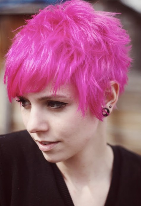 Shaved pixie in bright pink