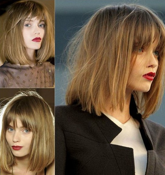Straight bob hairstyle for shoulder length hair