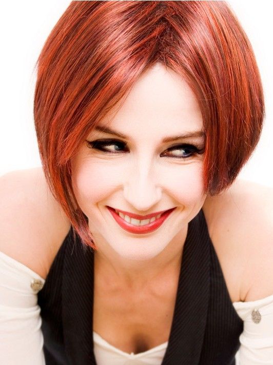 Slim short haircut for red hair