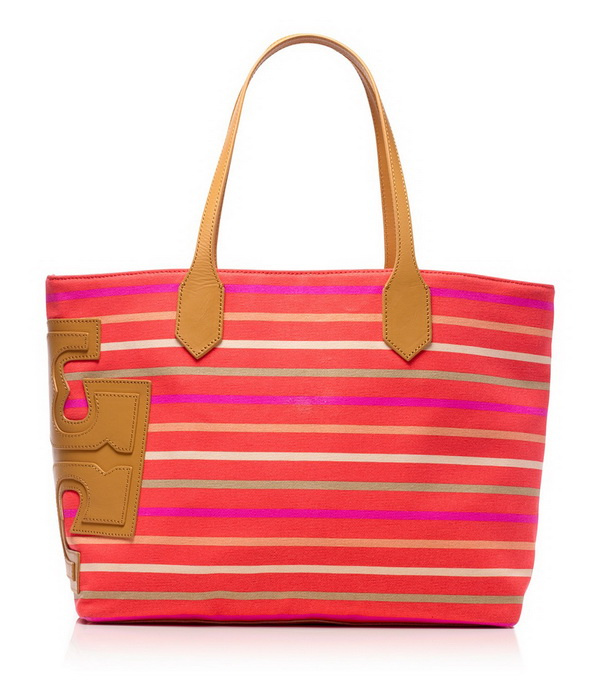 pink lovely tote with strips