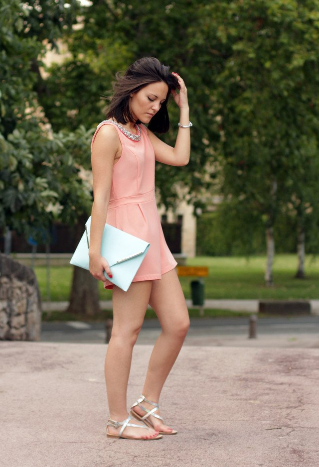 Pink short jumpsuit outfit idea with silver flats