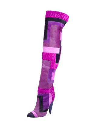 Side view of Tom Ford Geometric Patchwork Fur over the knee boots
