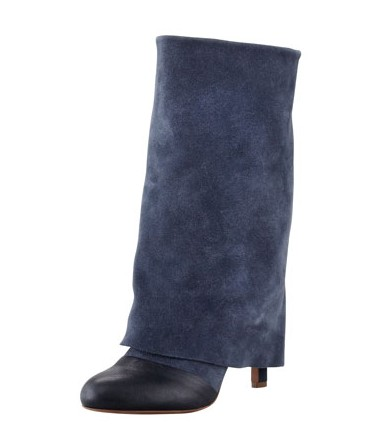 See Chloe Fold-Over Suede Mid-Calf Boot, Navy