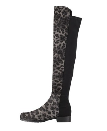 Stuart Weitzman over the knee boots in suede with leopard print, smoke