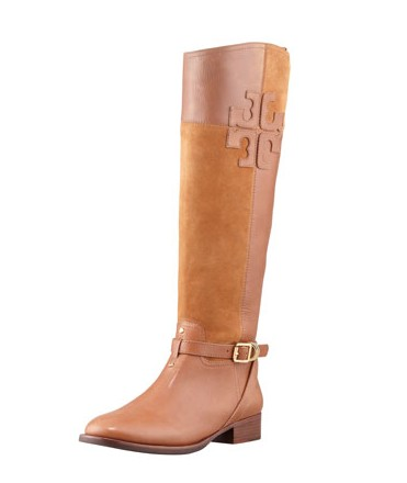 Tory Burch Lizzie leather and suede riding boots