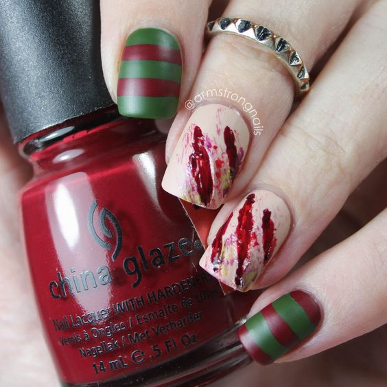 bloody Halloween nails via
