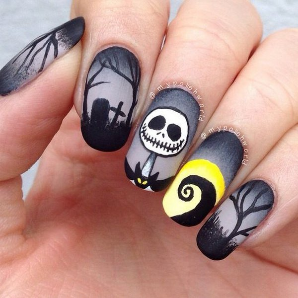 Grave-and-skull Halloween nails over