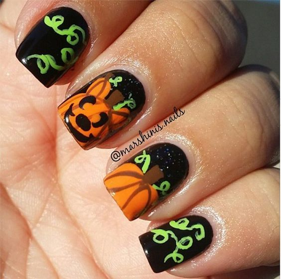 Pumpkin nails over