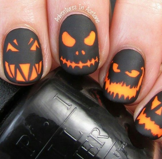 Pumpkin face nails over