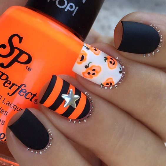 Pumpkin-inspired nails over