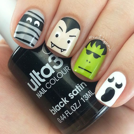funny halloween nails over