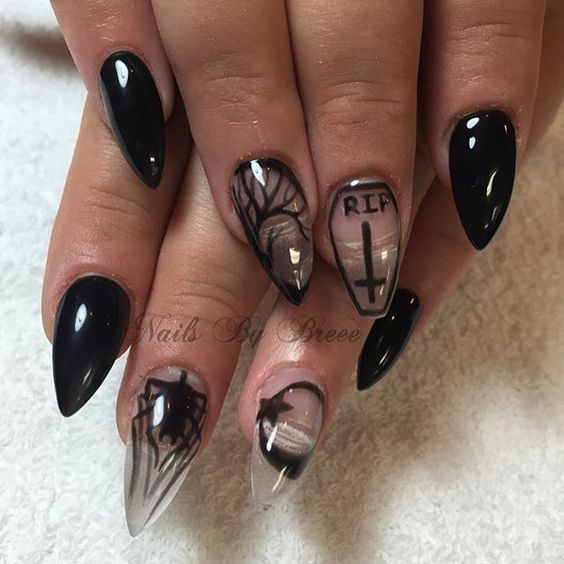 black crystal nails over
