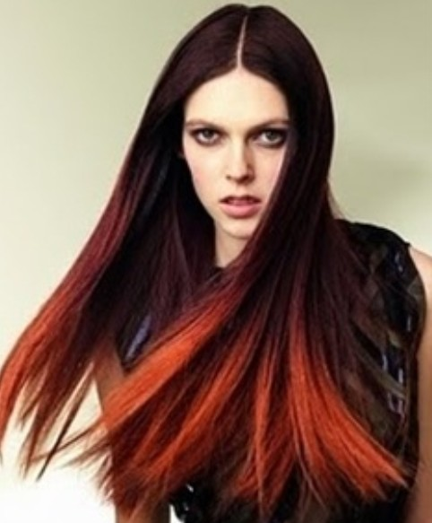 Red straight hair