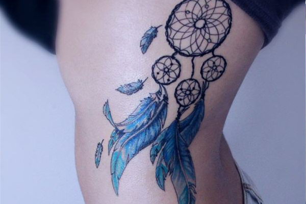 Dream Catcher Tattoo Design with Feathers