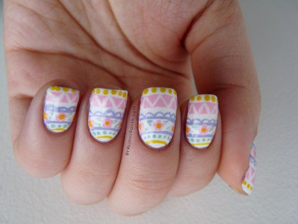Light pink tribal nail design