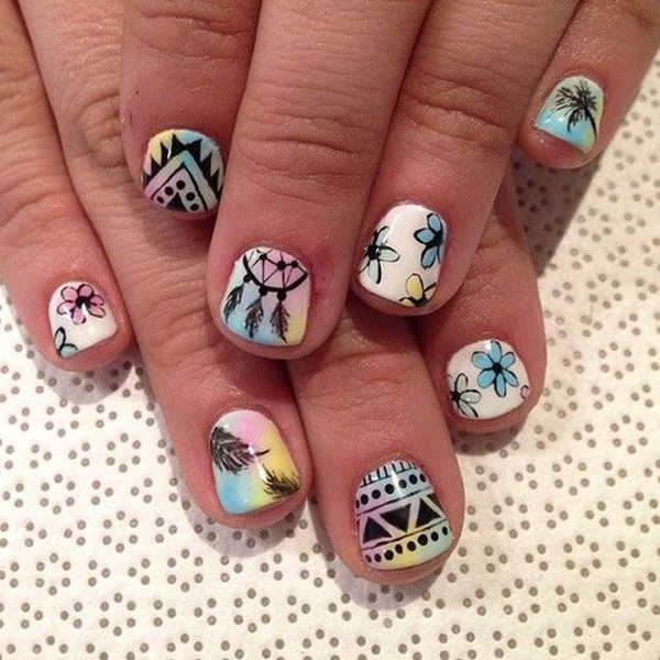 Cute tribal nail design for short nails