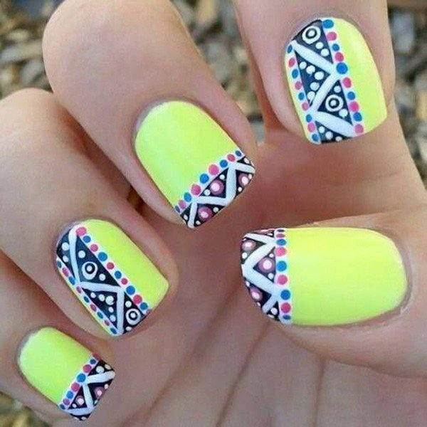 Mint green tribal nail design