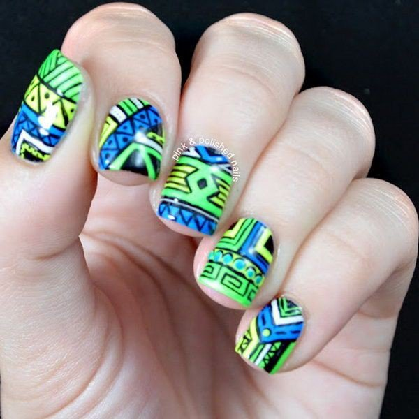 Teal tribal nail design