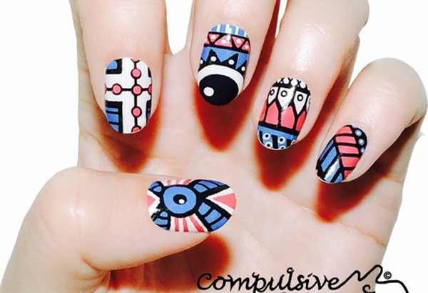 Melon Tribal Nail Design