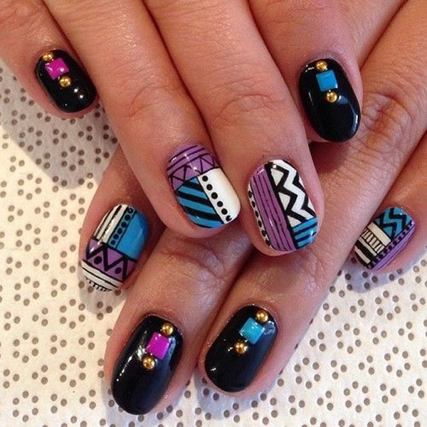 Embellished tribal nail design