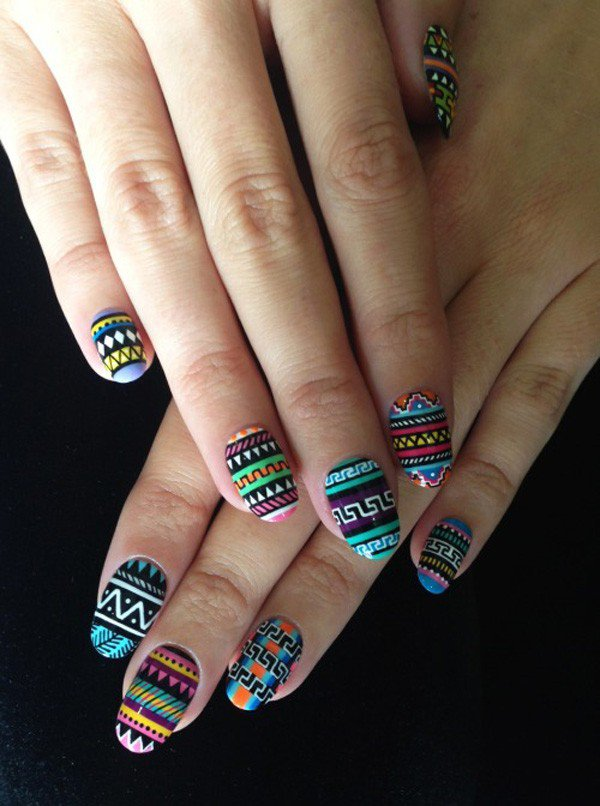 Multi-colored tribal nail design