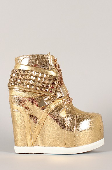 Side view of the Metallic Pyramid Chain Lace Up Wedge Sneakers with rivets