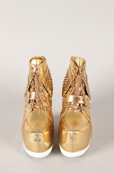 Front view of the Metallic Pyramid Chain Lace Up Wedge Sneakers with rivets