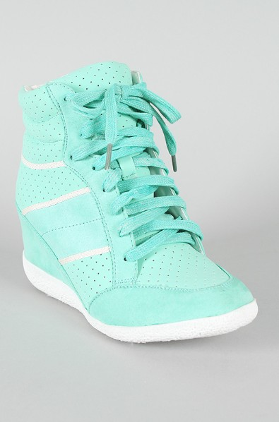 Front view of the Stripe Lace Up Wedge sneaker