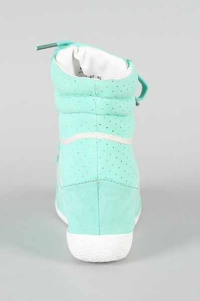 Rear view of the Stripe Lace Up Wedge sneaker