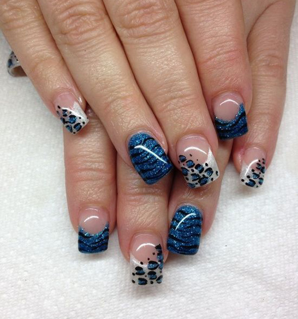 Blue french nail design with leopard print