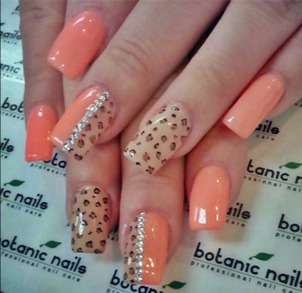 Orange leopard print nail design