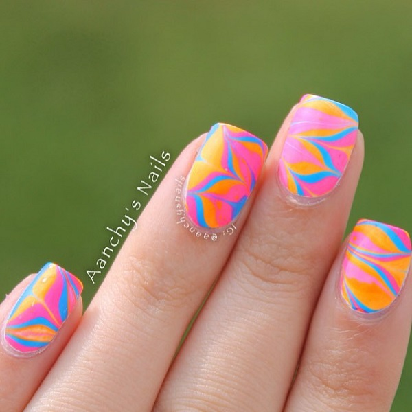 Pink abstract nail design