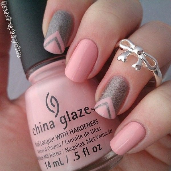 Pink V shape nail design