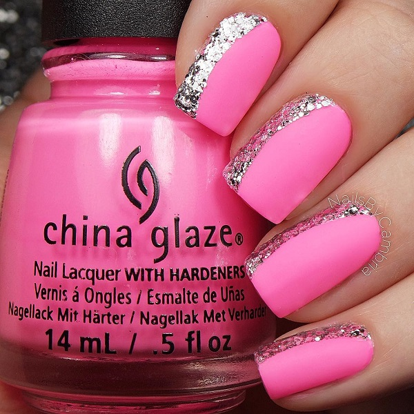 Sparkly Pink Nail Design