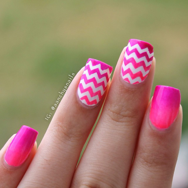 Pink zigzag nails
