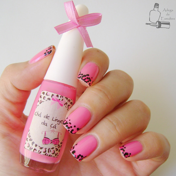 French pink nail design with leopard print