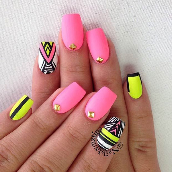 Pink tribal nail design