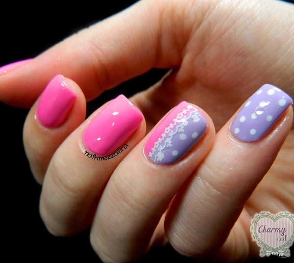 Pink nails with polka dots