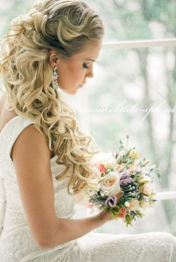 Half Up Half Down Wedding Hairstyle for Curly Hair