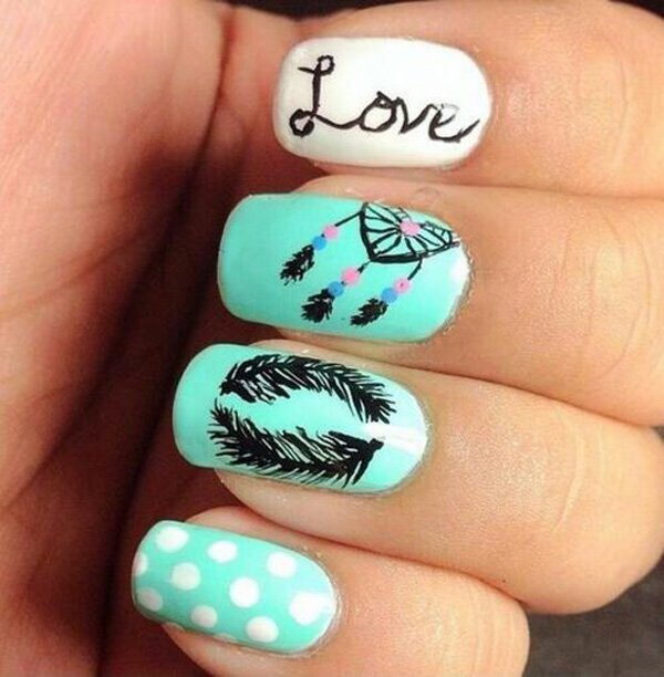 Nice feather nail design