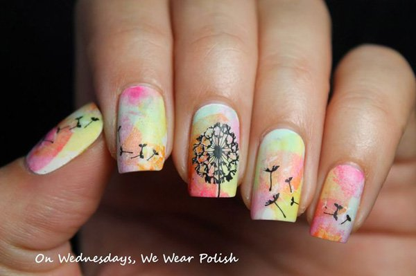 Colorful Dandilion nail design