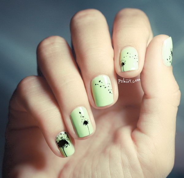 Mint green Dandilion nail design