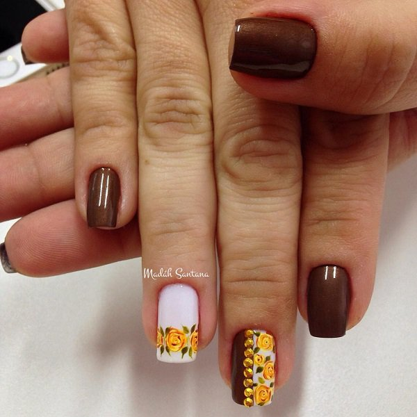 Chocolate Floral Nail Design