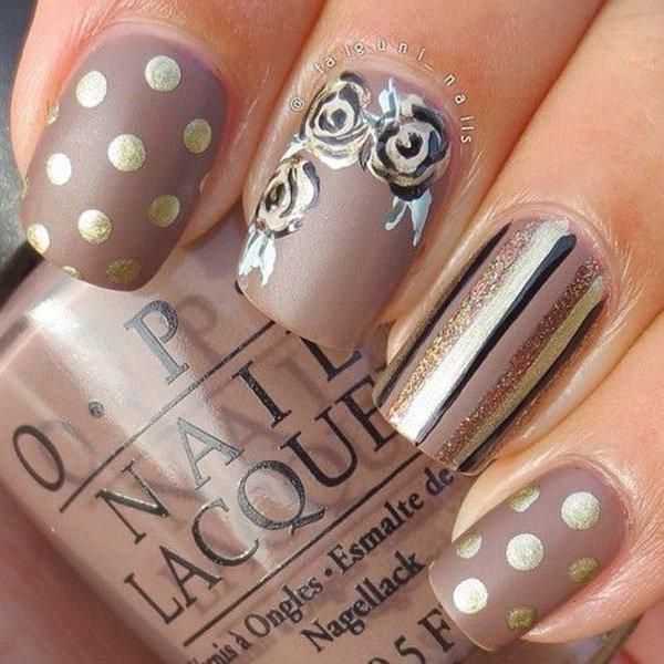 Brown and gold nail design