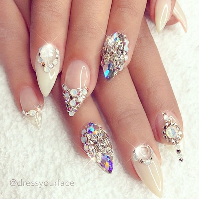 Glitter wedding nail design